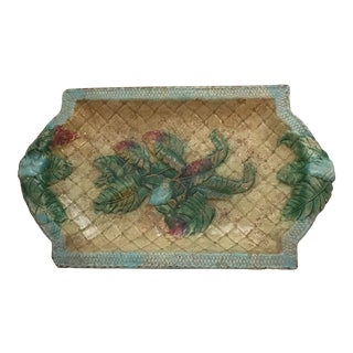 1960s Majolica Basket Weave With Palm Leaves Platter For Sale