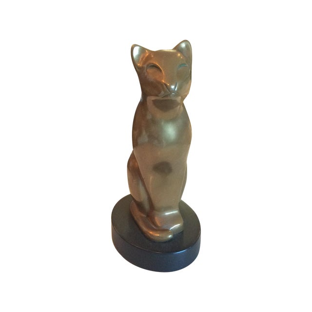 Vintage Brass Cat Statue - Image 1 of 5