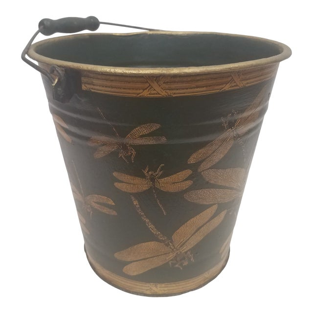 English Antique Dark Green Bucket / Pail With Decoupage Dragonflies - Found in Southern England For Sale