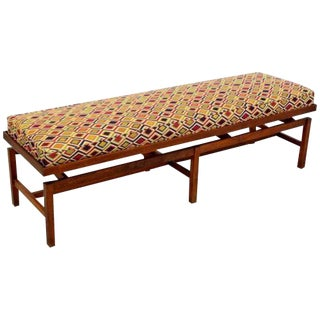 Mid Century Modern Long Floating Jens Risom Walnut Base Bench