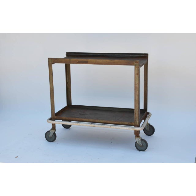 Brown 1950s Sturdy Industrial Bar Cart on Wheels For Sale - Image 8 of 8