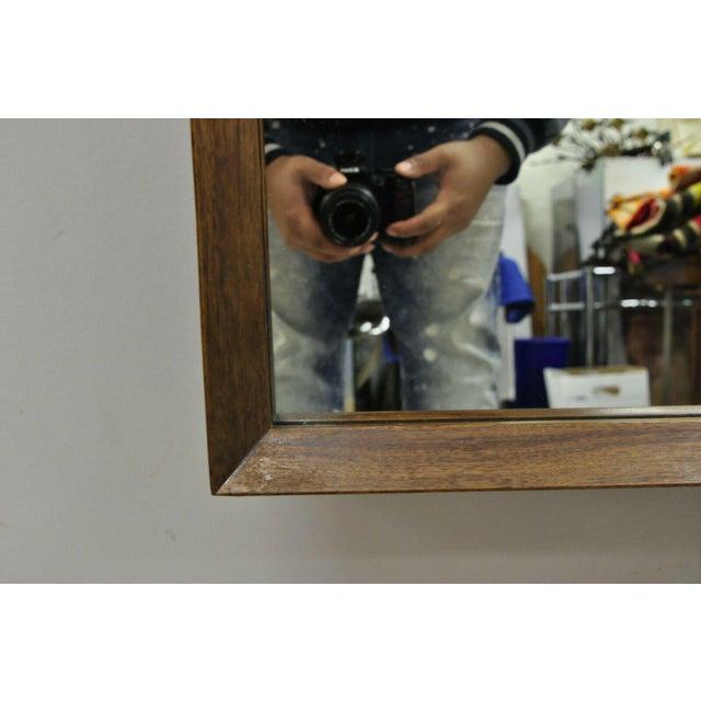 Wood Vintage Mid Century Modernist Walnut Rectangular Wall Dresser Deep Frame Mirror For Sale - Image 7 of 11