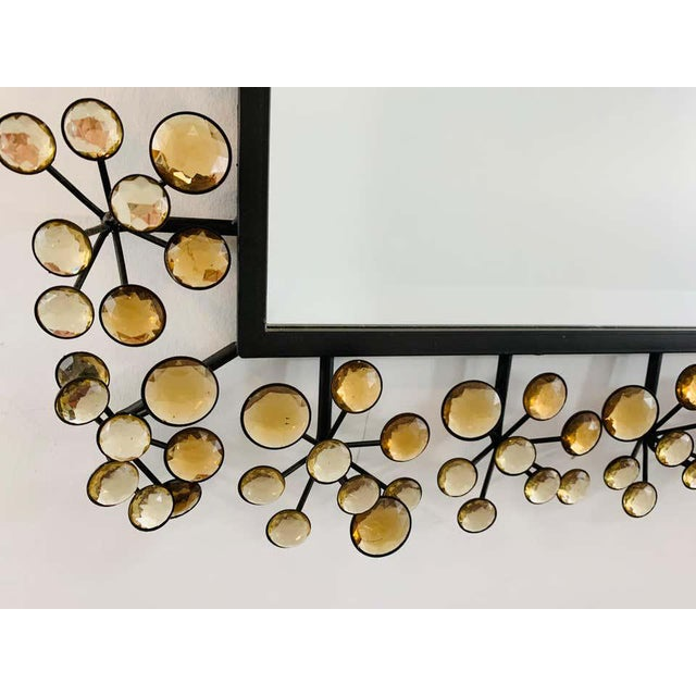 Mid-Century Modern Black and Faux Crystal Accent Beveled Wall Mirror For Sale - Image 9 of 13