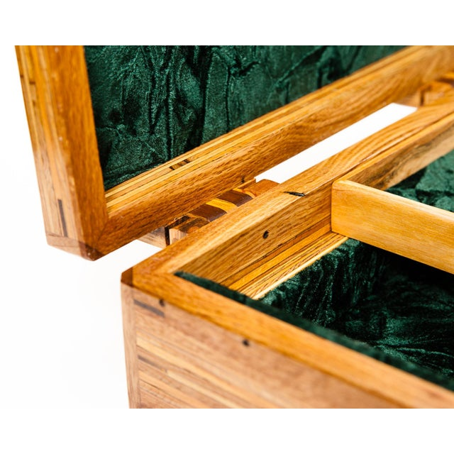 Scandinavian Lawrence & Scott Reclaimed Wood One-Of-A-Kind Lined Jewelry Box For Sale - Image 9 of 12