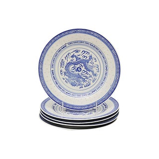 "Chinese ""Blue Rice"" Dragon Plates For Sale"