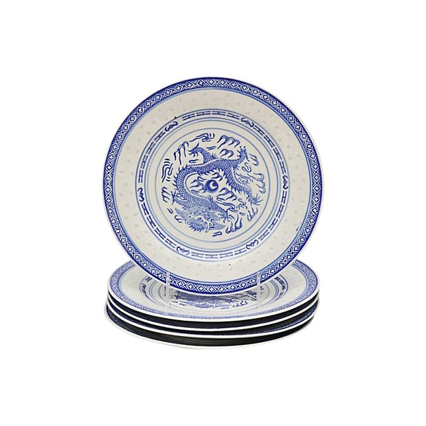 """Chinese """"Blue Rice"""" Dragon Plates For Sale"""