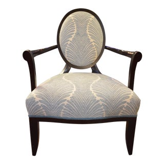 Vintage Barbara Barry for Baker Furniture Oval X Back Armchair Newly Upholstered For Sale