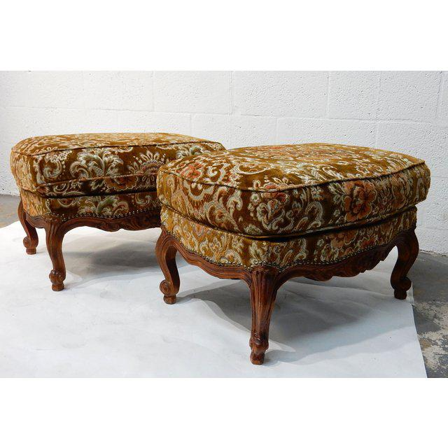 Contemporary Traditional French Ottomans With Rich Fabric Upholstery - a Pair For Sale - Image 4 of 11