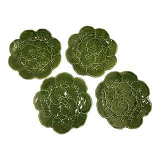 Vintage Belo Majolica Geranium Green Dessert Plates - Set of 4