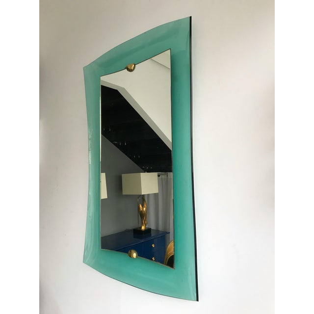 Metal Curve Glass Brass Mirror by Cristal Art, 1960s For Sale - Image 7 of 12