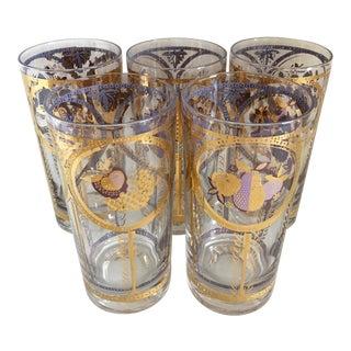 Highball Glasses/22K Gold Trim - Set Of 5