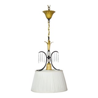 French Silk Shade Pendant Light For Sale
