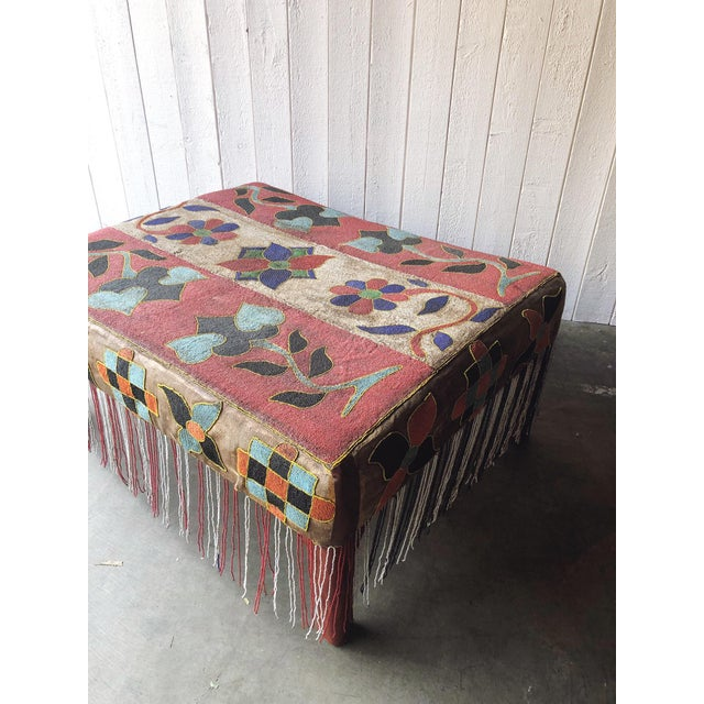 African Antique African Yoruba Beaded Ottoman/Coffee Table For Sale - Image 3 of 9