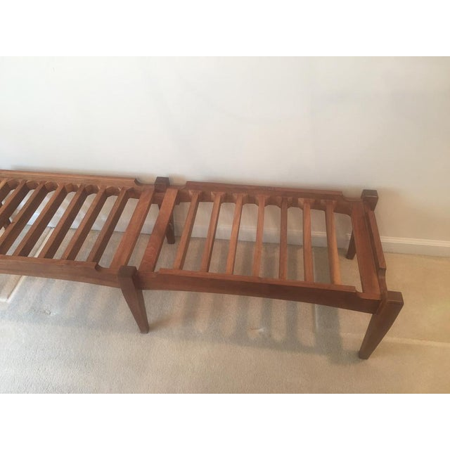 Mid-Century Modern Solid Walnut Bench For Sale - Image 4 of 6