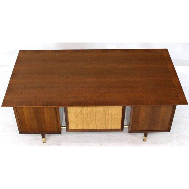 Caned Back Overhanging Floating Banded Top Large Brass Hardware Executive Desk For Sale - Image 11 of 12