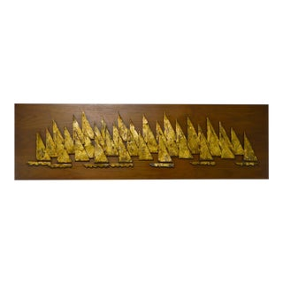 Peter Pepper Products 1960s Walnut Frame Metal Wall Sculpture of Sailboats