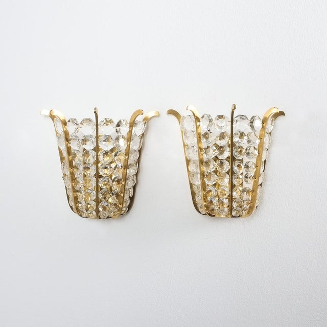 Gold Pair of Bakalowits Crown Sconces Brass and Glass, Austria 1955 For Sale - Image 8 of 8