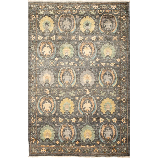"Suzani Hand-Knotted Area Rug 5' 1"" x 7' 10"" For Sale"