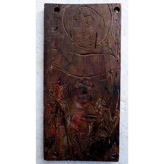 Original Spiritual Devotional Wood Carving Wood Cut by Sante Graziani. Sante Graziani (1920-1981) Surrealist American,...