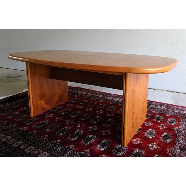 "Wood 1970s Danish Modern 110"" Teak Dining Table For Sale - Image 7 of 13"