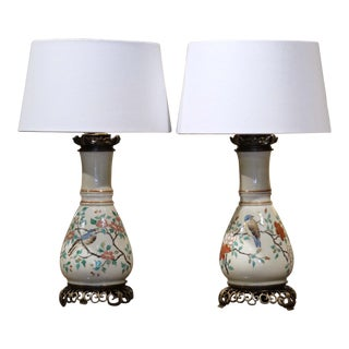 19th Century French Porcelain and Brass Oil Table Lamps With Bird Decor - a Pair For Sale