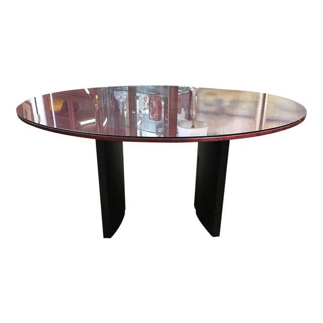Round Birdseye Maple Dining Table with Glass Top For Sale