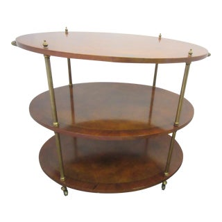 1940s 3-Tier Walnut Oval Server With Brass Details and Casters For Sale