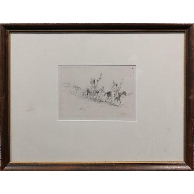 Edward Borein - Two indian in full headdress on horseback -Print paper under glass - 20th century print frame size 13 x...