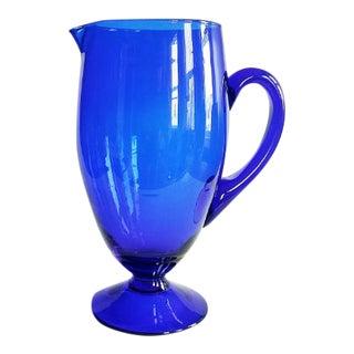 1960s Mid Century Art Glass Cocktail Pitcher Cobalt Blue For Sale