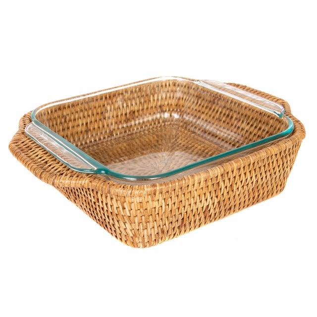 2010s Artifacts Rattan Square Pyrex Holder For Sale - Image 5 of 6