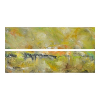"""""""Equinox"""" Original Abstract Landscape Oil Paintings - a Pair"""
