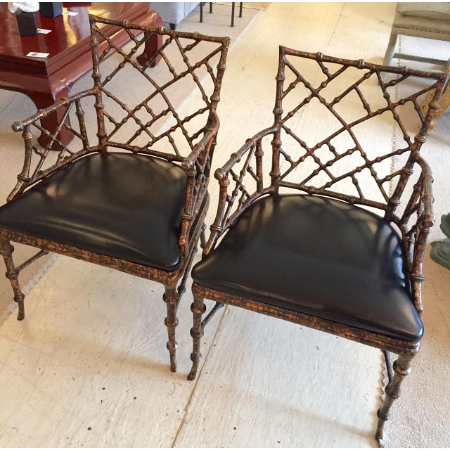 Chippendale Style Painted Iron Chairs - A Pair - Image 2 of 7