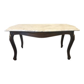 French Louis XV Style Marble Top Walnut Coffee Table For Sale