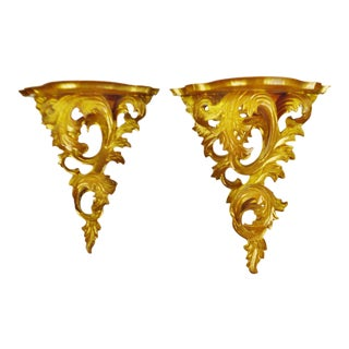 Antique Italian Rococo Carved Wood Gilt Wall Shelves - a Pair