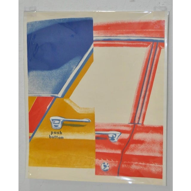 """James Rosenquist """"Roll Down"""" Color Lithograph c.1960s This is an unsigned / unnumbered lithograph. A copyright logo is in..."""