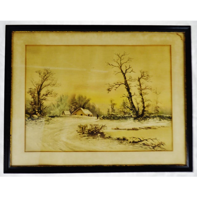 Antique Framed Mixed Media Country Landscape Scene For Sale - Image 13 of 13