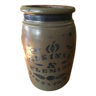 Antique Salt-Glaze Stoneware Crock For Sale