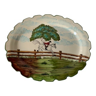 Ceramic Equestrian Perfect Day c.e. Corey Serving Platter For Sale