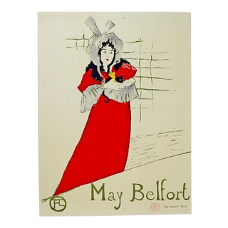 """Vintage """"May Belfort"""" Poster Stamped by Museum Toulouse Lautrec For Sale"""