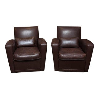 Holly Hunt Brown Leather Swivel Chairs For Sale