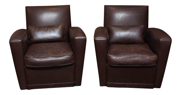 Incredible Holly Hunt Brown Leather Swivel Chairs   DECASO