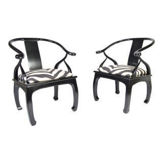James Mont Style Chinoiserie Easy Chairs With Ralph Lauren Zebra Upholstery For Sale