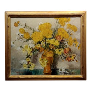 Thorwald Albert Probst -Beautiful Flowers of Fall Still Life-Oil Painting- 1900s For Sale