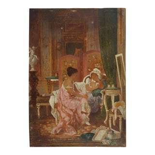 Regency Boudoir Scene Oil Painting For Sale