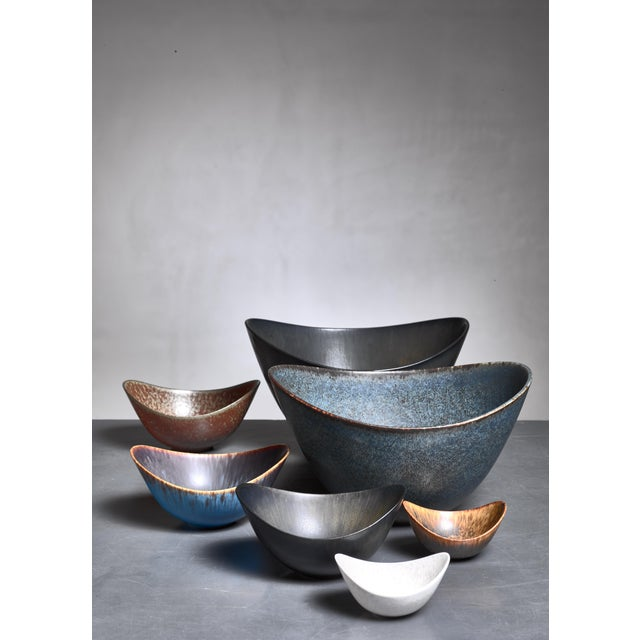 Mid-Century Modern Collection of Seven Gunnar Nylund Ceramic Bowls for Rörstrand, Sweden, 1950s For Sale - Image 3 of 4