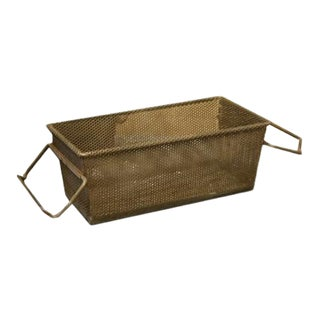 French Vintage Metal Industrial Basket With Handles For Sale