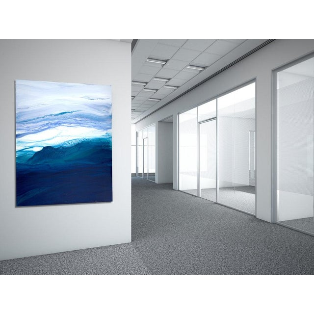Gallery-wrapped canvas sides painted silver. Ready to hang. Framing optional. Signed by artist Dated