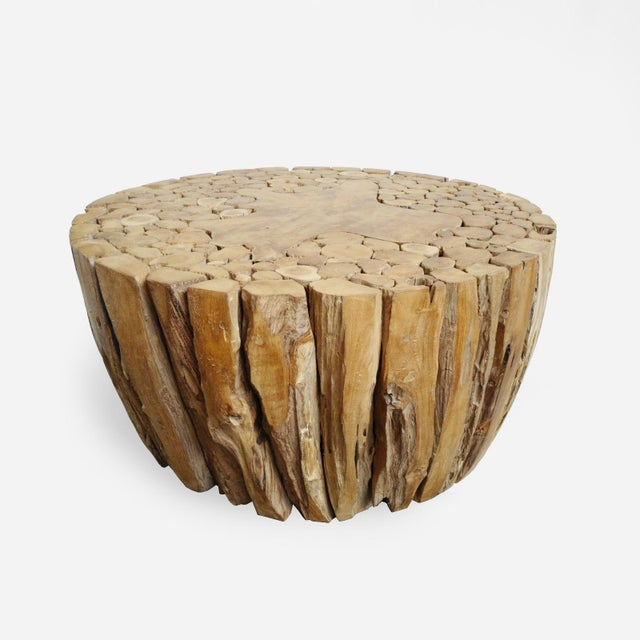 Round teak root coffee table made from old teak root pieces in circular design with sanded flat top. Beautiful organic...