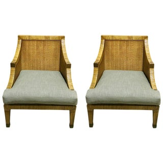 Italian Mid Century Rattan & Reed Lounge Chairs - A Pair