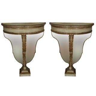 Maison Jansen Demilune Console Tables - Pair For Sale